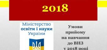 Вступ 2018. МОН затвердило умови прийому абітурієнтів